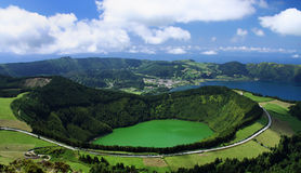 Viewpoint Azores 04. Viewpoint over Sete Cidades at Sao Miguel, Azores royalty free stock images