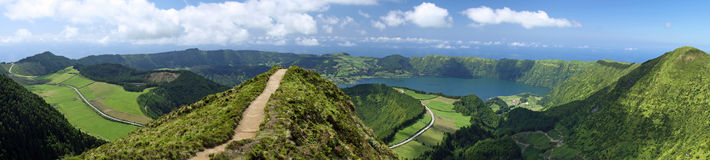 Viewpoint Azores 06. Panorama View over Sete Cidades at Sao Miguel, Azores stock images