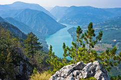 Viewpoint Banjska rock at Tara mountain looking down to Canyon of Drina river. West Serbia royalty free stock images