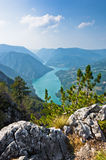 Viewpoint Banjska rock at Tara mountain looking down to Canyon of Drina river. West Serbia stock photos
