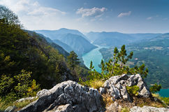 Viewpoint Banjska rock at Tara mountain looking down to Canyon of Drina river. West Serbia stock image