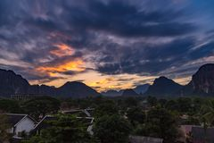 Viewpoint and beautiful Landscape in sunset at Vang Vieng, Laos. Viewpoint and beautiful Landscape in sunset at Vang Vieng, Laos stock photos