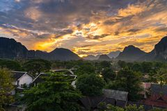 Viewpoint and beautiful Landscape in sunset at Vang Vieng, Laos. Viewpoint and beautiful Landscape in sunset at Vang Vieng, Laos Royalty Free Stock Photos