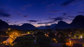 Viewpoint and beautiful night scenic at Vang Vieng, Laos. Viewpoint and beautiful night scenic at Vang Vieng, Laos Stock Photo