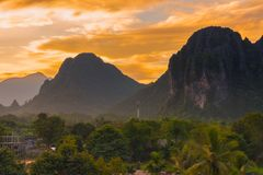 Viewpoint and beautiful sunset at Vang Vieng, Laos. Viewpoint and beautiful sunset at Vang Vieng, Laos Royalty Free Stock Photo