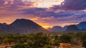 Viewpoint and beautiful sunset at Vang Vieng, Laos. Viewpoint and beautiful sunset at Vang Vieng, Laos Royalty Free Stock Image