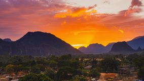 Viewpoint and beautiful sunset at Vang Vieng, Laos. Viewpoint and beautiful sunset at Vang Vieng, Laos stock images