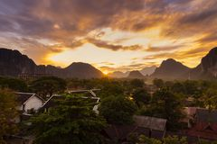 Viewpoint and beautiful sunset at Vang Vieng, Laos.  royalty free stock image