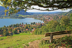 Viewpoint with bench, lake schliersee, germany Royalty Free Stock Photo
