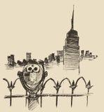 Viewpoint with binoculars binocular viewer city Stock Image