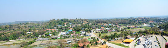 Viewpoint Cityscape form top of Chedi in Wat Huay Pla Kung at Chiang Rai Royalty Free Stock Photo