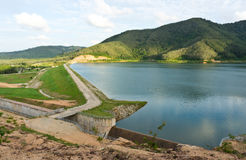 Viewpoint of the dam. Royalty Free Stock Photos