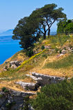 Viewpoint at Egadi islands from top of a cliff at Erice, Sicily Stock Photo