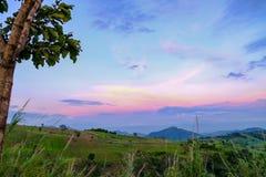 Viewpoint khao kho Phetchabun Thailand. Viewpoint in evening beautiful sky khao kho district Phetchabun Thailand stock photo