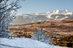 Viewpoint on the hill in Sion, Switzerland. Viewpoint on Valere hill to Sion capital city of Canton of Valais in Switzerland Stock Photo