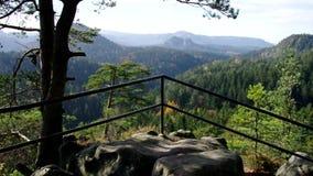 Viewpoint Kleinsteinaussicht in Elbe Sandstone Mountains stock footage