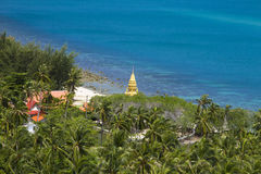 Viewpoint on Koh Samui. Tropical beach with coconut palm trees. Koh Samui, Thailand royalty free stock image