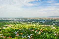 Viewpoint at Mandalay Hill is a major pilgrimage site. A panoramic view of Mandalay from the top of Mandalay Hill. Alone makes it worthwhile to attempt a climb stock photography