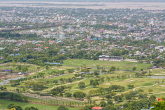 Viewpoint at Mandalay Hill is a major pilgrimage site. A panoramic view of Mandalay from the top of Mandalay Hill. Alone makes it worthwhile to attempt a climb stock images
