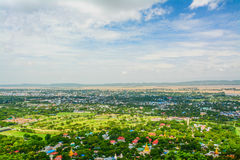 Viewpoint at Mandalay Hill is a major pilgrimage site. A panoramic view of Mandalay from the top of Mandalay Hill. Alone makes it worthwhile to attempt a climb royalty free stock image