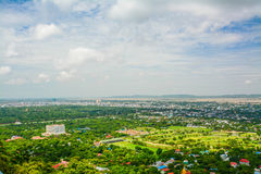 Viewpoint at Mandalay Hill is a major pilgrimage site. A panoramic view of Mandalay from the top of Mandalay Hill Royalty Free Stock Photo
