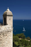 Viewpoint of Mediterranean Sea. Beautiful Nature and History blended in Mediterranean Stock Images