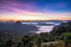 Viewpoint mist mountain colorful at dawn Stock Image