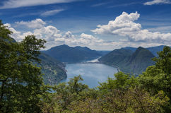Viewpoint Monte Bre towards Lake Lugano Stock Photos