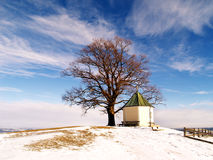 Viewpoint Obereck (1). Viewpoint Obereck, bavaria, Germany,  with Chapel on the region Samerberg (1) in Winter season Stock Photography