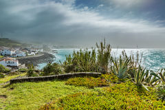Viewpoint of the ocean coast at Sao Rogue on the Sao Miguel Isla Royalty Free Stock Image