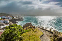 Viewpoint of the ocean coast at Sao Rogue on the Sao Miguel Isla Stock Photo