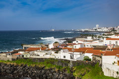 Viewpoint of the ocean coast at Sao Rogue on the Sao Miguel Isla Royalty Free Stock Photo