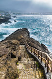 Viewpoint of the ocean coast at Sao Rogue on the Sao Miguel Isla Royalty Free Stock Photography