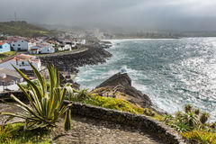 Viewpoint of the ocean coast at Sao Rogue on the Sao Miguel Isla Royalty Free Stock Images