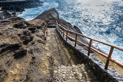 Viewpoint of the ocean coast at Sao Rogue on the Sao Miguel Isla Stock Images