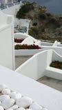 Viewpoint in oia village on santorini island Stock Photos