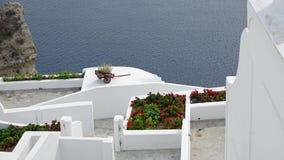 Viewpoint in oia village on santorini island Stock Photography