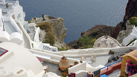 Viewpoint in oia village on santorini island Stock Images