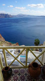 Viewpoint in oia village on santorini island Royalty Free Stock Photos