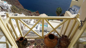 Viewpoint in oia village on santorini island Royalty Free Stock Images