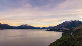 Famous landmark of Glenorchy scenic highway in New Zealand stock photography