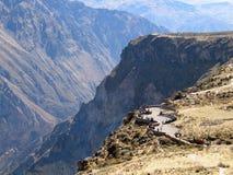 Viewpoint over Colca Canyon. High angle view of tourists on viewpoint overlooking Colca Canyon, Andes, Peru Stock Image