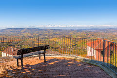 Viewpoint over hills of Langhe in Italy. Stock Image