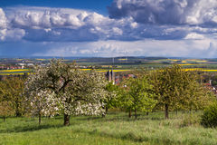 Viewpoint over Ockstadt and the Wetterau in spring Stock Photo