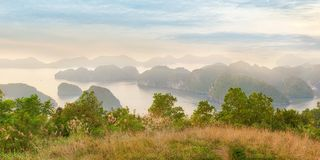 Viewpoint panorama of Halong Bay Royalty Free Stock Photography