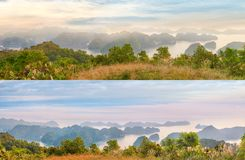 Viewpoint panorama of Halong Bay royalty free stock images