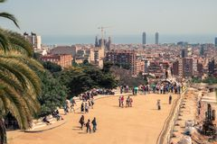 The viewpoint of Park Güell on reconstruction stock image