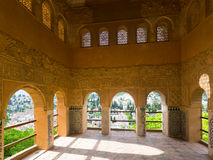 Viewpoint of Partal palace at Royal complex of Alhambra. GRANADA, SPAIN - MAY 13, 2016: Viewpoint of Partal palace at Royal complex of Alhambra Royalty Free Stock Photo