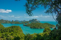 Angthong national marine park and many scenic island at Ko Samui, Thailand. Viewpoint peak in ko Wua Ta Lap, in Mu ko Angthong national marine park and many stock photography