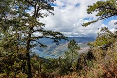 The viewpoint pedra bela in the Peneda Geres National Park, north of Portugal.  royalty free stock image
